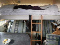 The trademark Hymer dropdown bed
